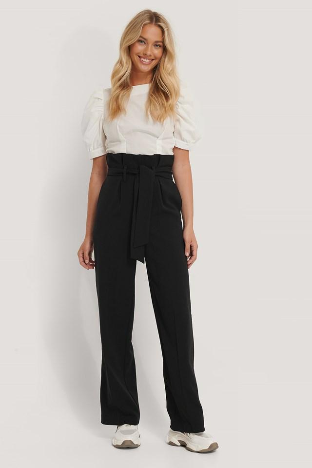 Black Maxi Paperwaist Suit Pants