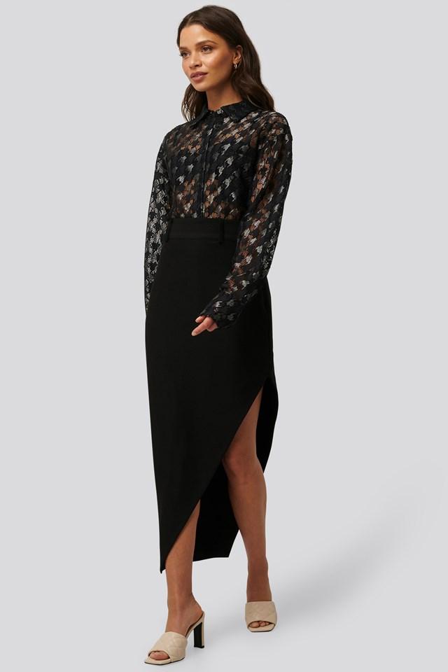 Maxi Tailored Asymmetric Skirt Black