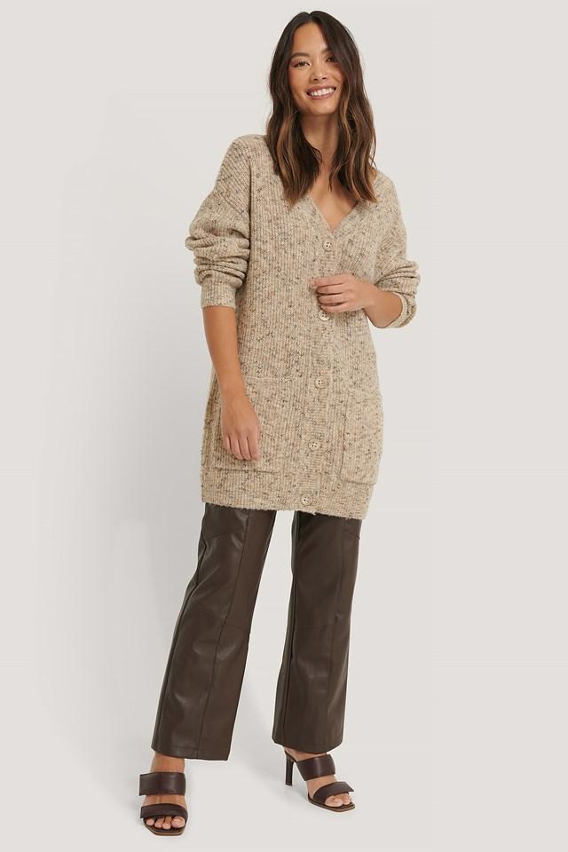 Melange Knitted Cardigan Beige
