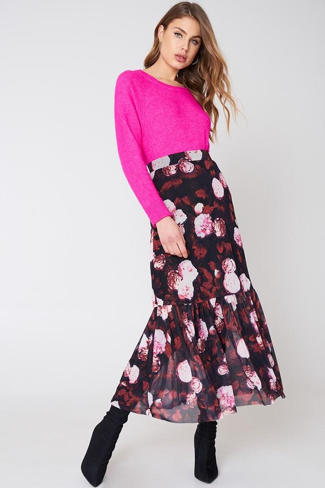 Red Flower Mesh Ankle Length Skirt