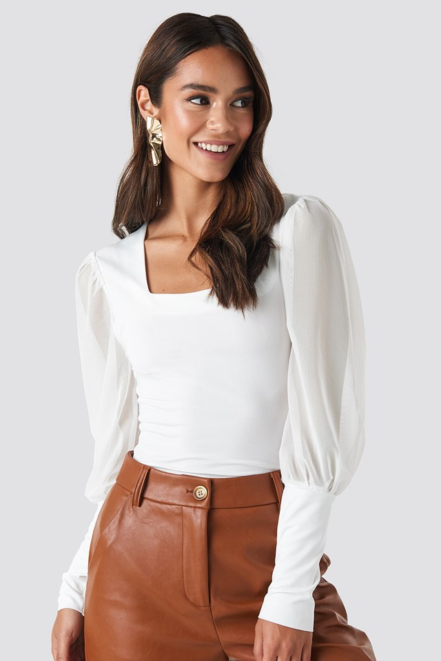 White Mesh Contrast Sleeve Jersey Blouse