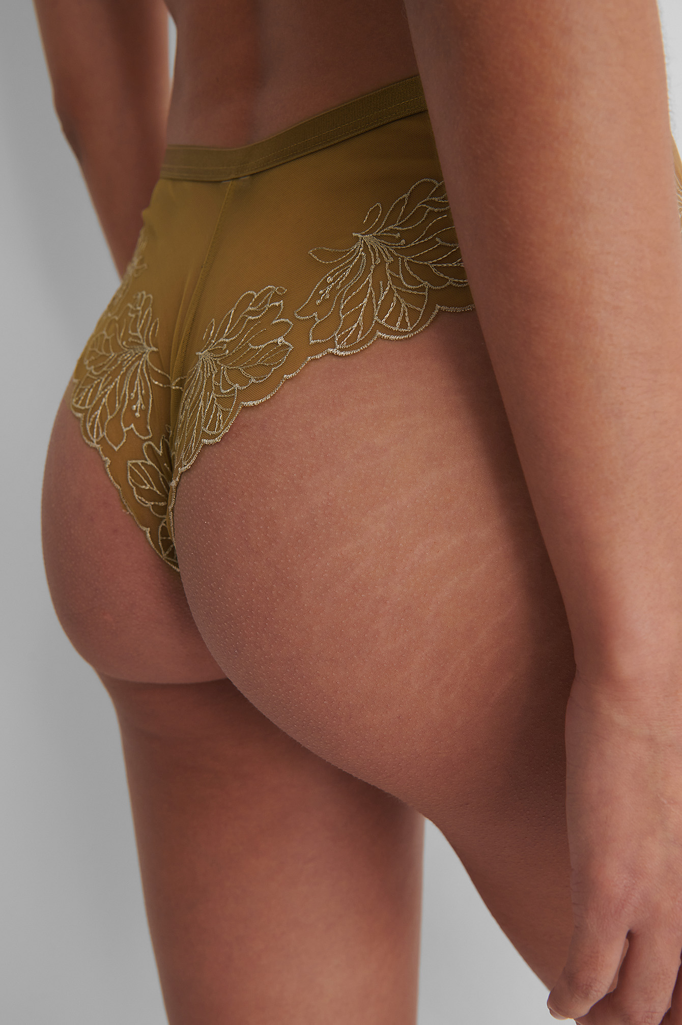 Olive Green Mesh Embroided Cheeky Panty