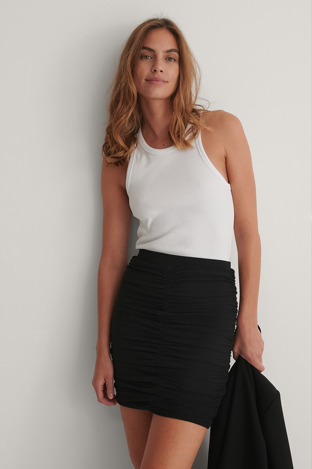 Black Mesh Mini Skirt