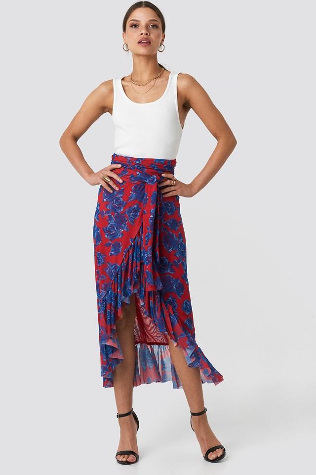 Mesh Overlap Maxi Skirt Red/Blue