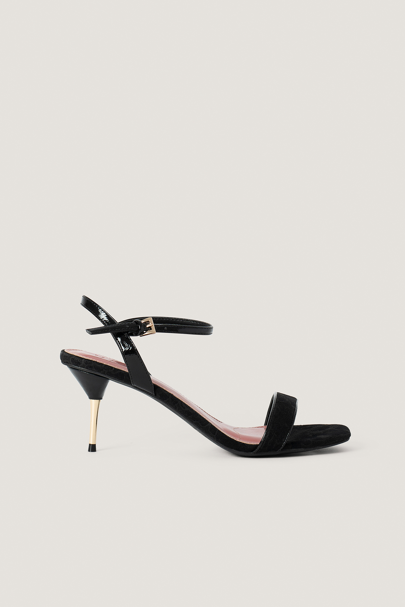 Black Metal Heel Ankle Strap Sandals