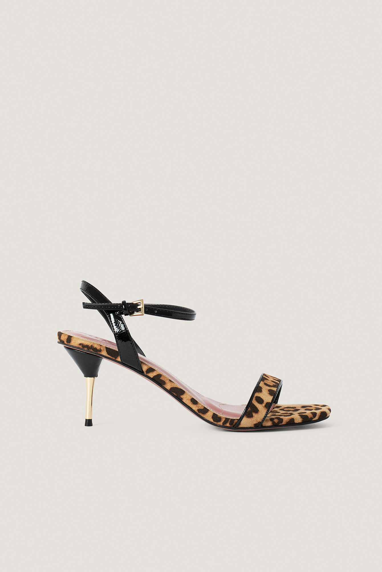 Black/Leopard/Black Metal Heel Ankle Strap Sandals
