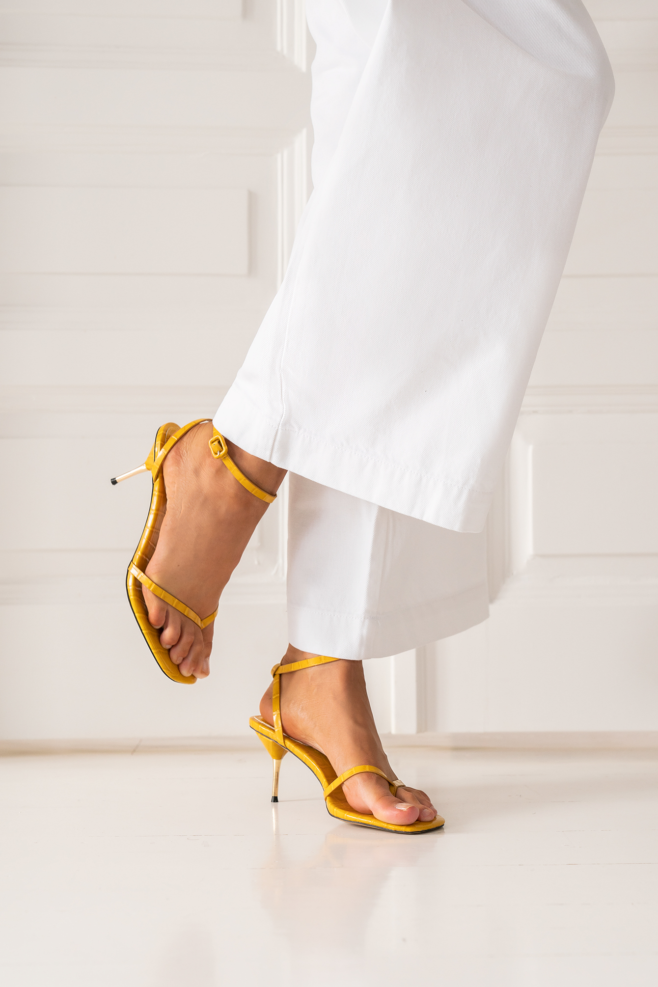 Yellow Metal Heel Strappy Heels