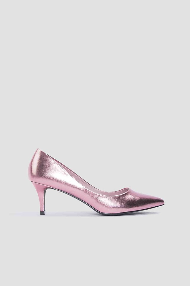 Metallic Mid Heel Pumps Pink