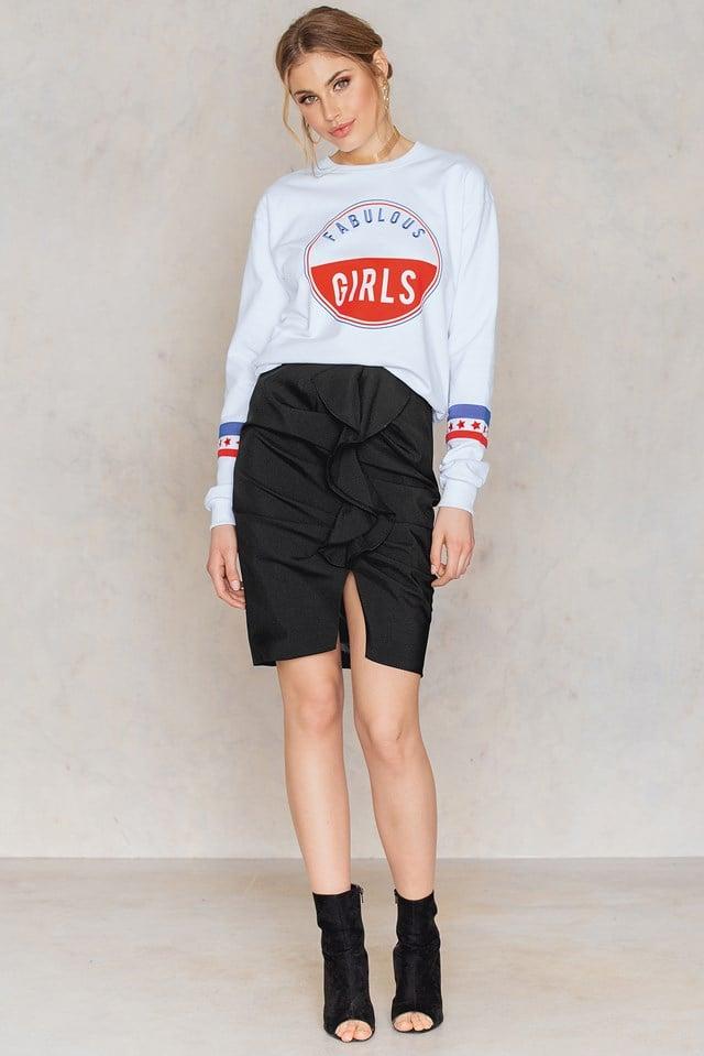 Black Mid Length Frill Skirt
