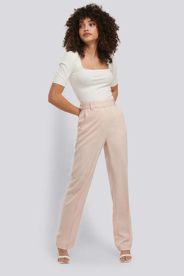 Cream Mid Rise Creased Suit Pants