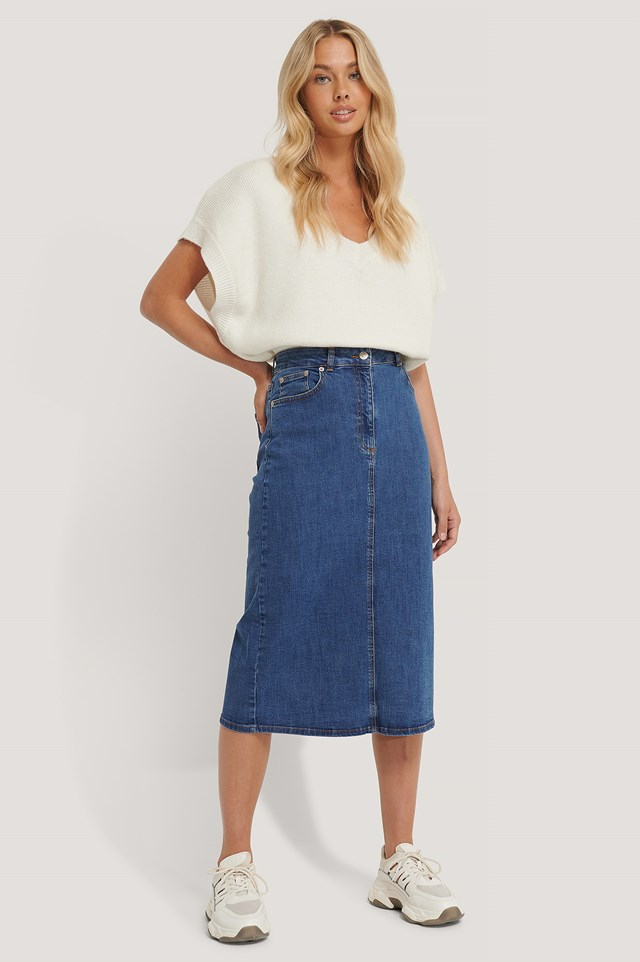 Recycled Midi Denim Skirt Blue