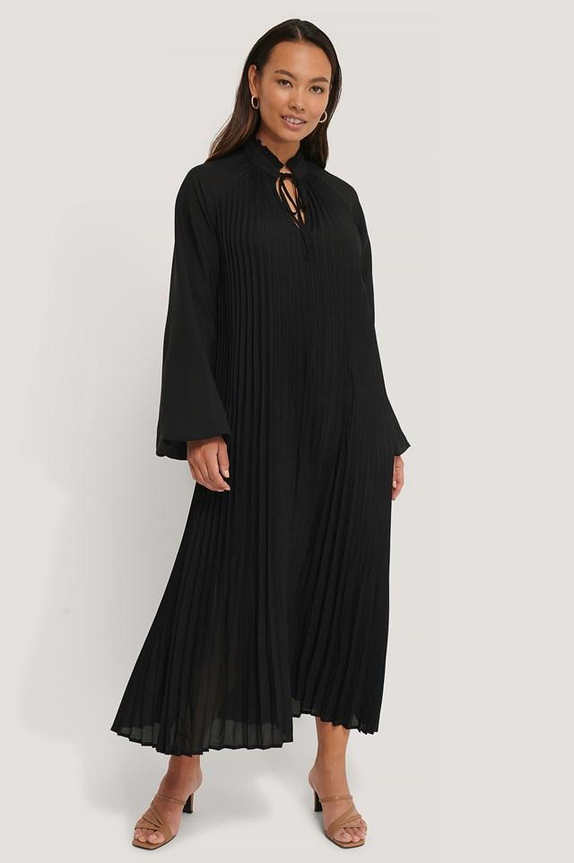 Midi Pleated Balloon Sleeve Dress Black
