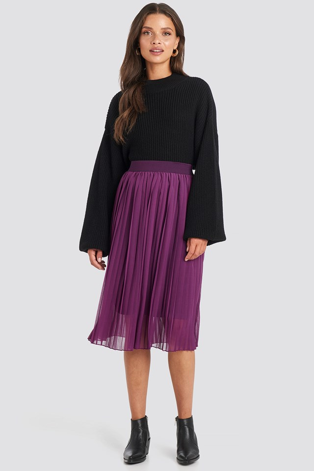 Grape Midi Pleated Skirt