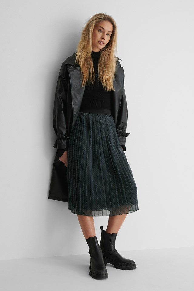 Grey Check Midi Pleated Skirt