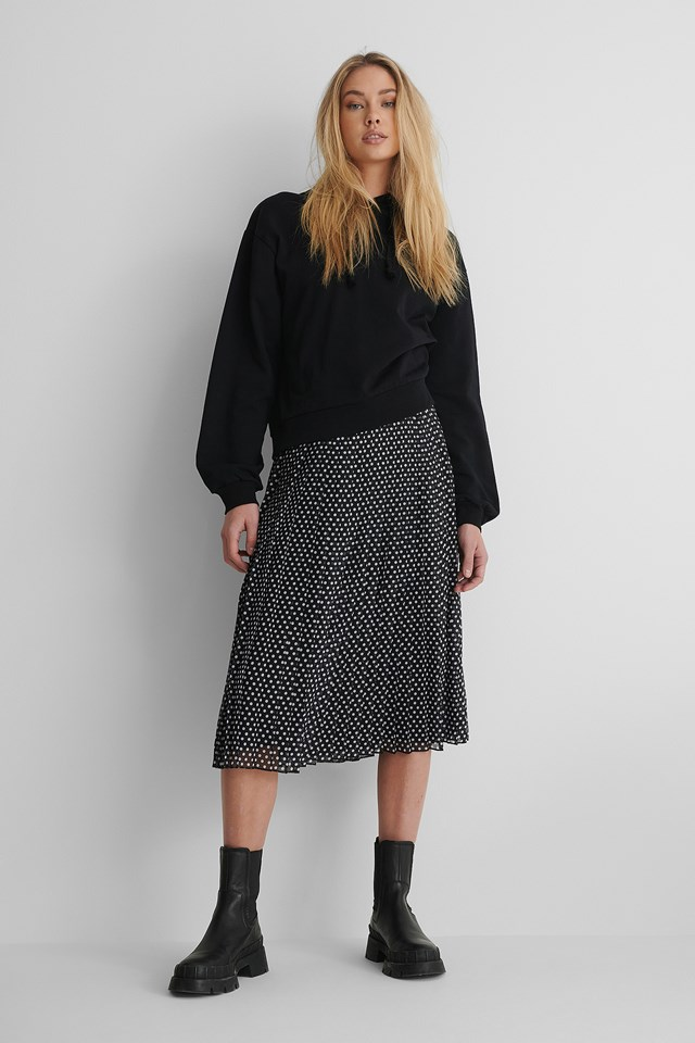 Dots Midi Pleated Skirt