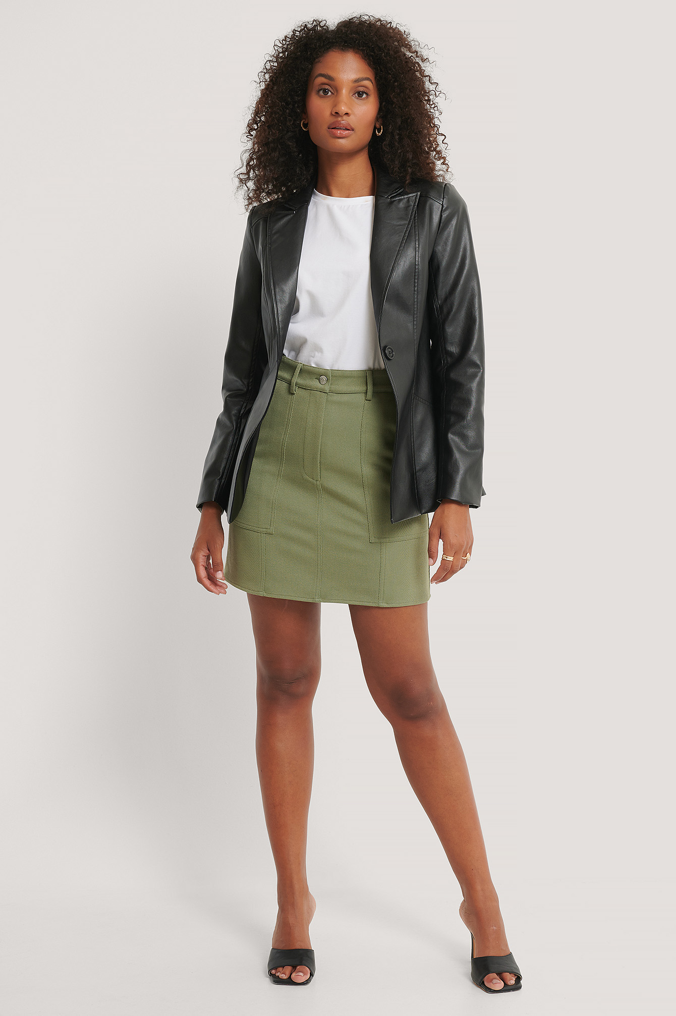 Khaki Mini A-line Twill Skirt