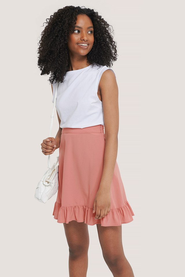 Rose Tan Mini Flounce Skirt
