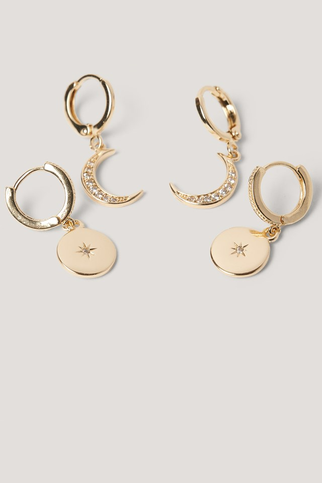 Gold Mini Moon And Star Pendant Earrings