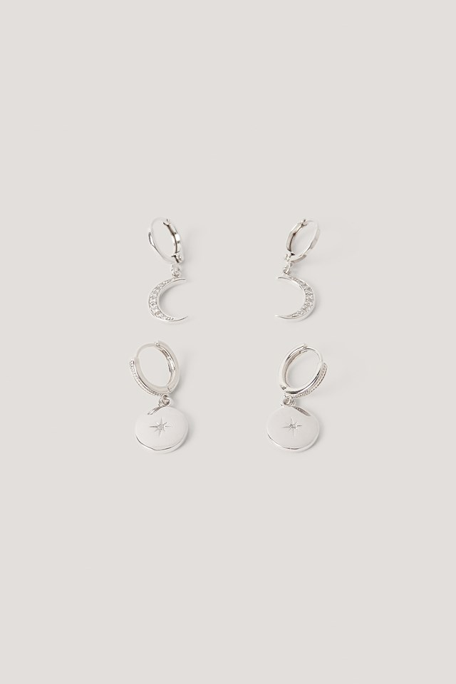 Mini Moon And Star Pendant Earrings Silver