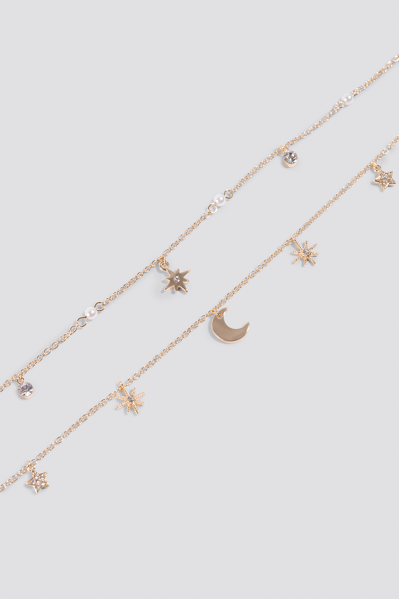 Gold Mini Stars and Moon Necklace