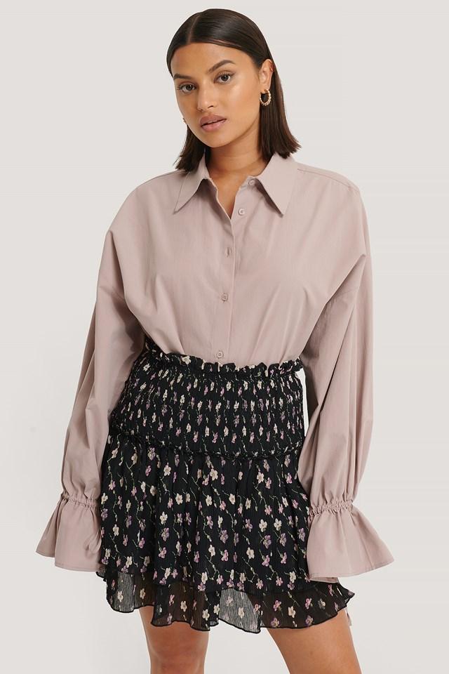 Black Flower Mini Structured Smocked Skirt
