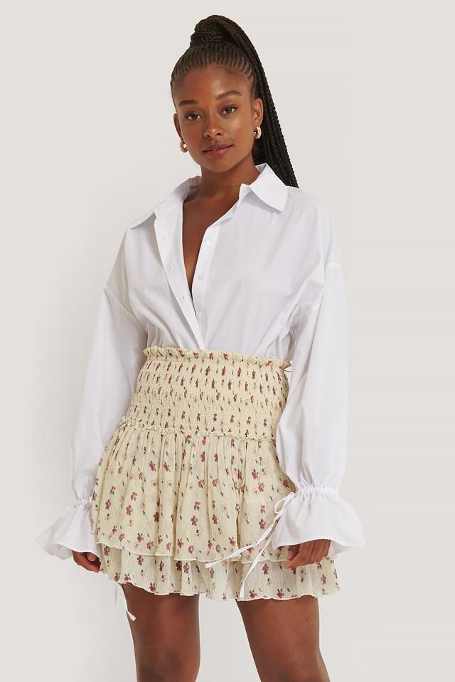 White Flower Mini Structured Smocked Skirt