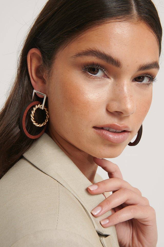 Brown/Gold Mixed Wooden Look Earrings