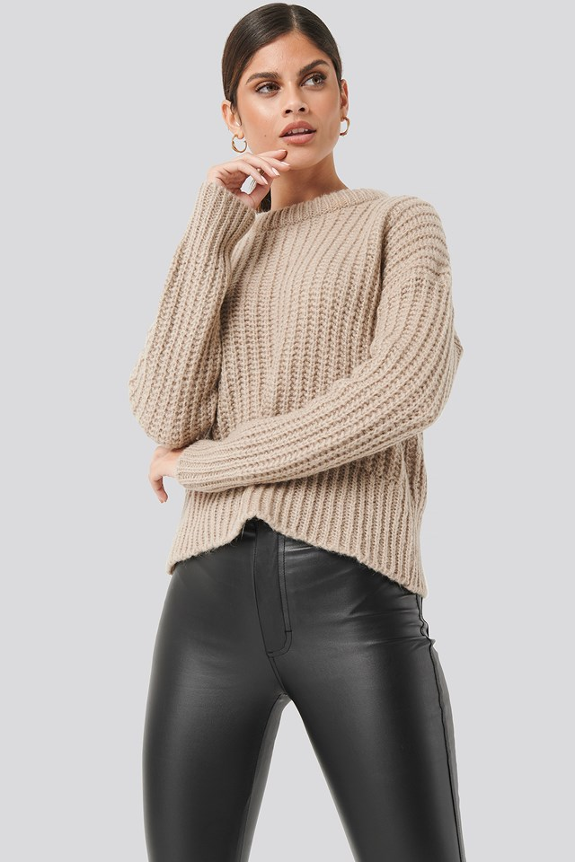 Mohair Blend Chunky Ribbed Sweater Beige