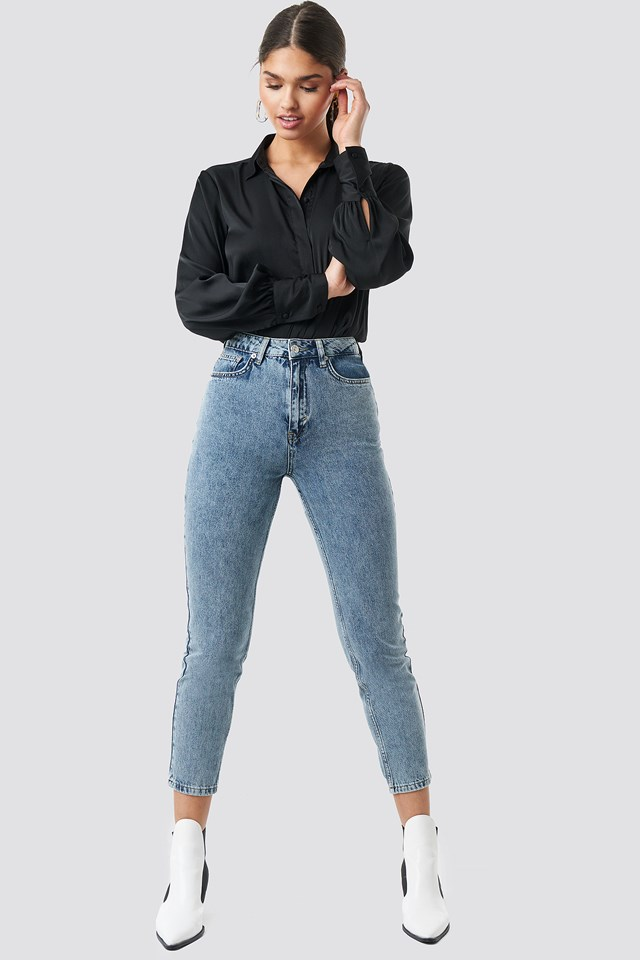 Mom Jeans Mid Blue