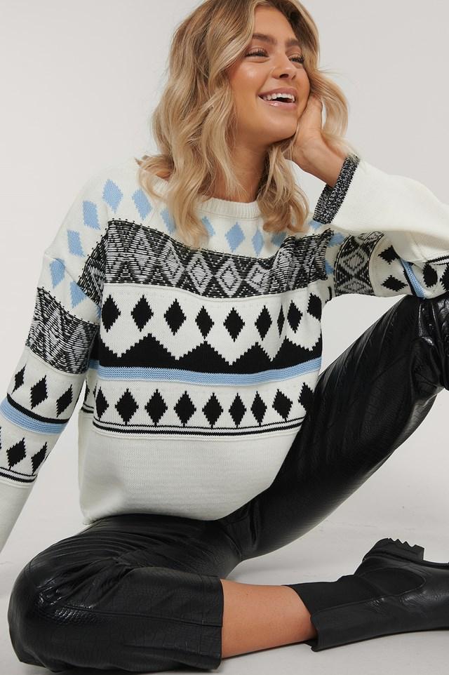 Sweter Z Dzianiny White/Blue