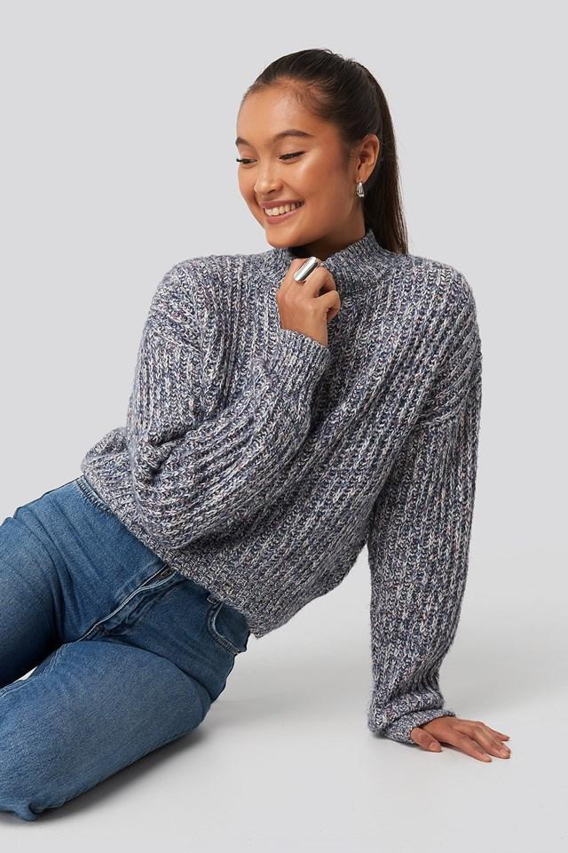 Wielokolorowy Karbowany Sweter Z Dzianiny Blue