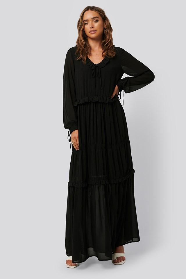 Multi Frill Flowy Dress Black