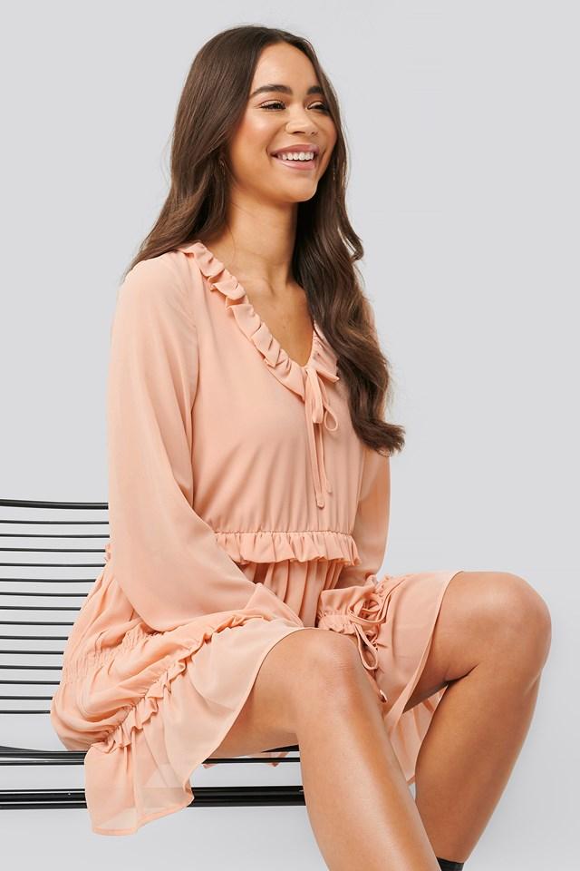 Multi Frill Flowy Mini Dress Dusty Pink