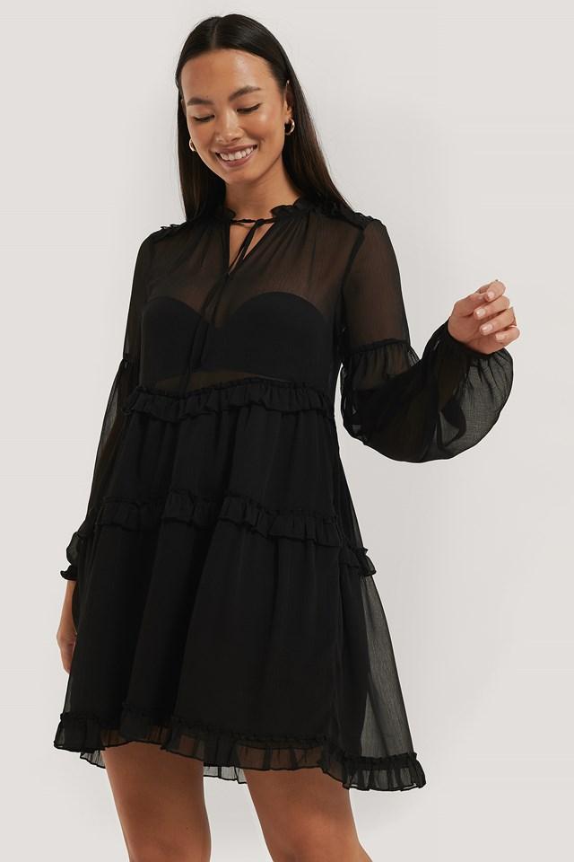 Black Ruffle Chiffon Dress