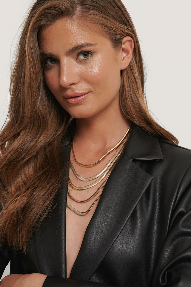 Multi Layered Snake Chain Necklace Gold