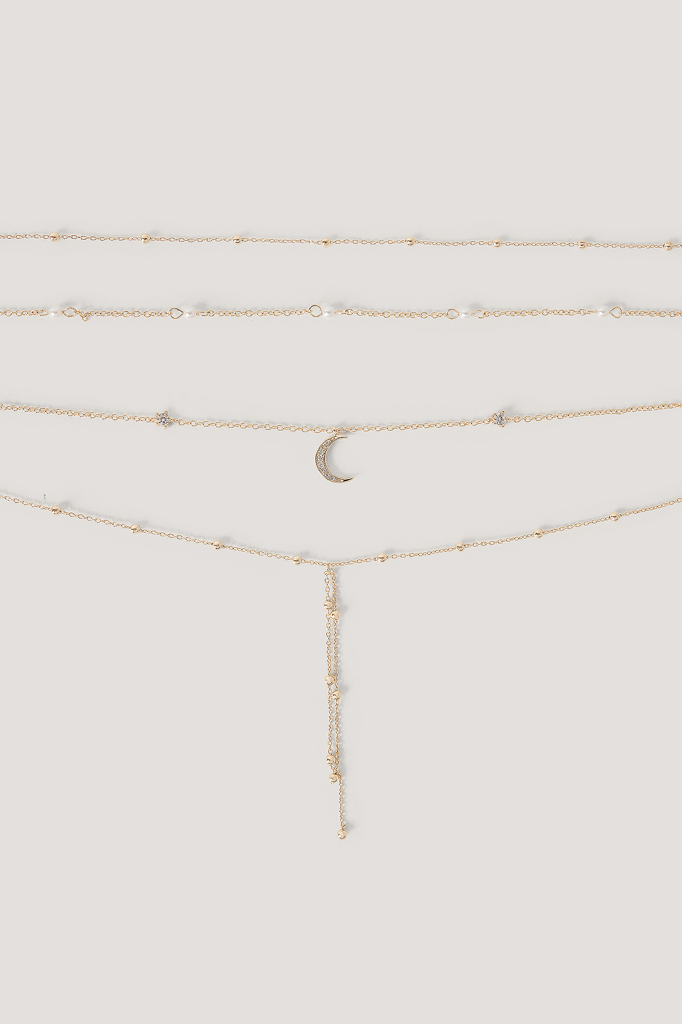 Gold Multi Pearl Moon Drop Necklaces