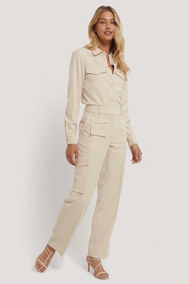 Cream Multi Pocket Suit Pants