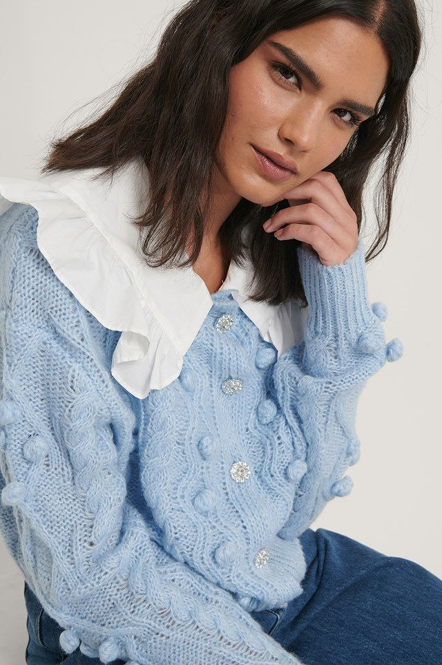 Blue Glitter Button Cable Knit Cardigan