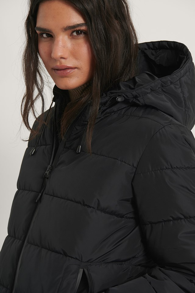 Black Padded Zipper Detail Jacket