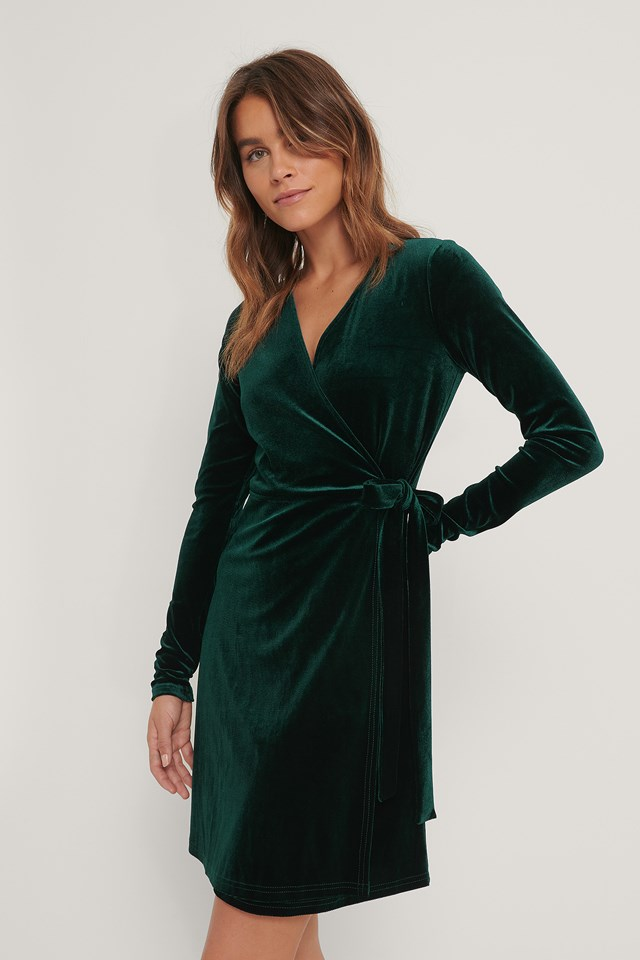 Emerald Green Wrap Velvet Dress
