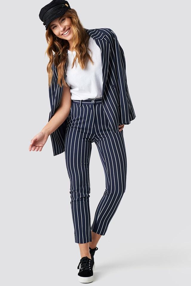 Navy Striped Suit Pants Navy