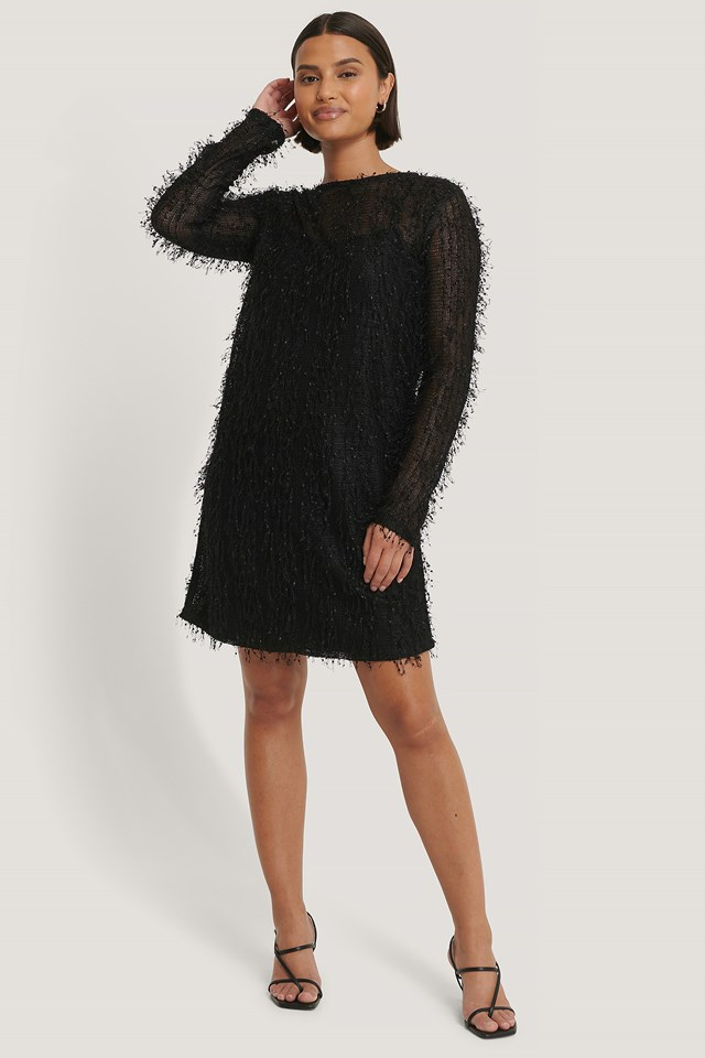 Black Net Detail Dress