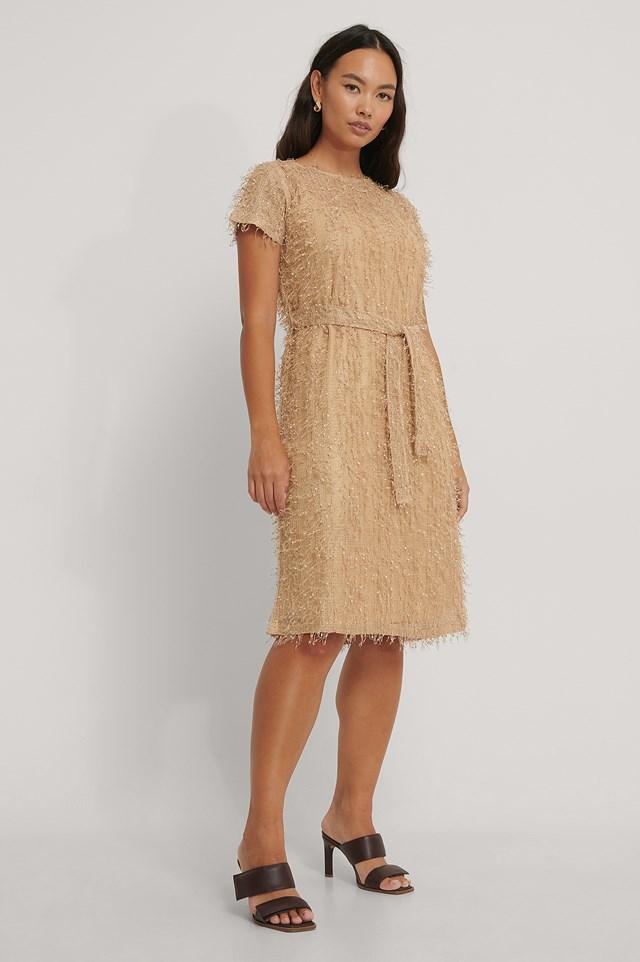 Net Detail Midi Dress Beige