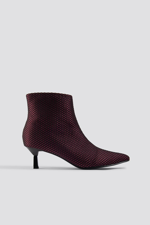 Net Kitten Heel Boots Burgundy