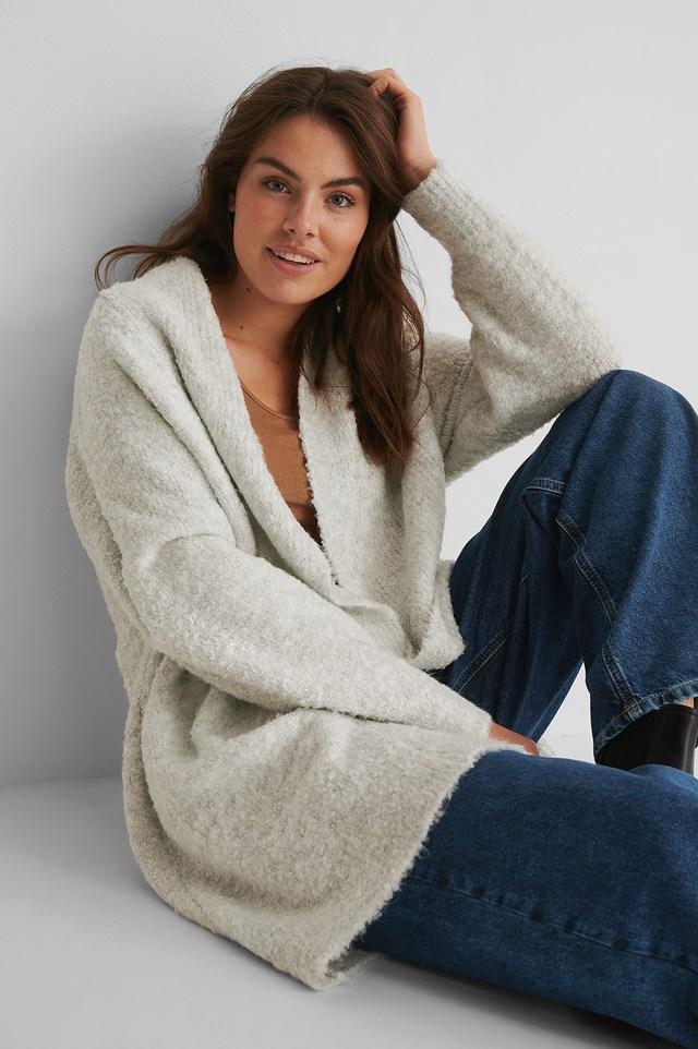 Melange Knit Cardigan Grey Melange