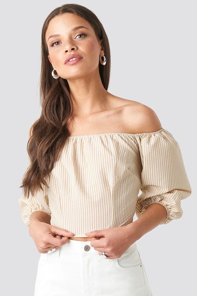 Off Shoulder Crop Stripe Top Beige/White Stripe
