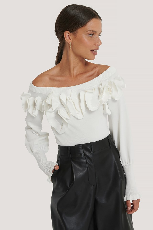 Off Shoulder Knitted Top White