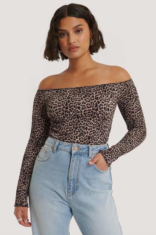 Off Shoulder Long Sleeve Smock Top Leopard Print