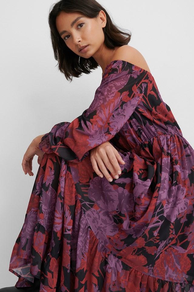 Red Flower Off Shoulder LS Chiffon Dress
