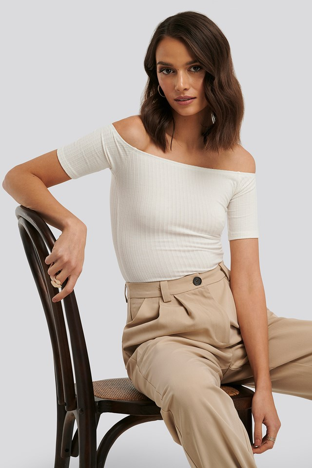 Off Shoulder Ribbed Top Offwhite
